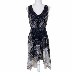Kenneth Cole New York High Faux Wrap Low Chiffon Abstract Print Dress XS